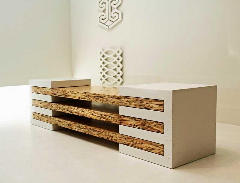 beautiful concrete wood bench