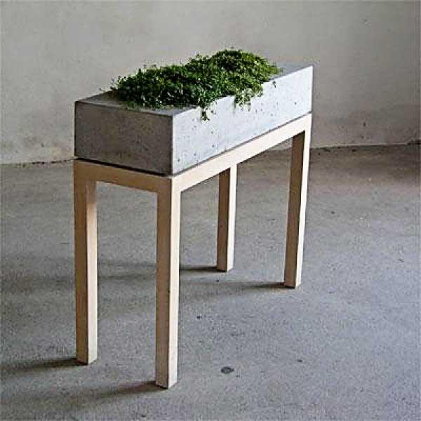 concrete wood planter