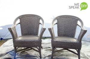 wicker chairs after painting