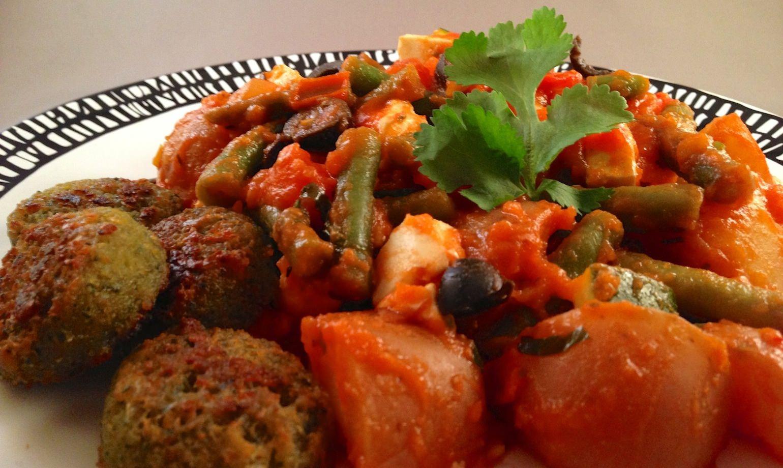 Grieks stoofpotje met falafel