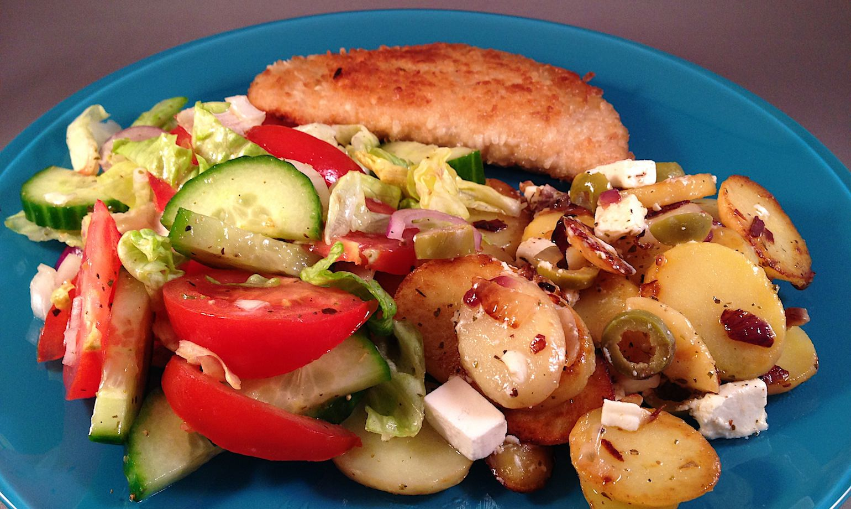 Recept voor gebakken aardappelen op griekse wijze