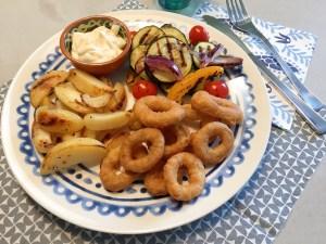 Calamaris met gegrilde groenten
