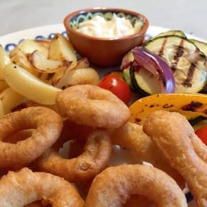 inktvis Calamaris met gegrilde groenten