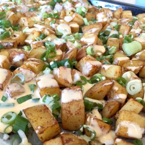 geroosterde aardappelblokjes uit de oven