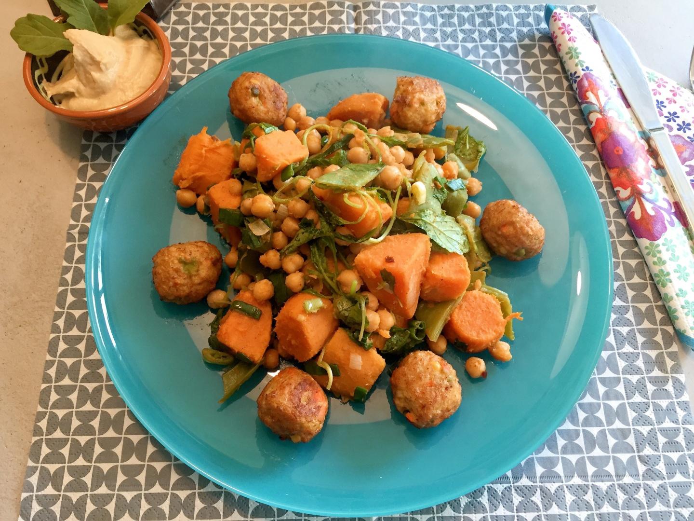 Zoete aardappel met kikkererwten