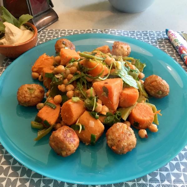 Vegetarisch Zoete aardappel met kikkererwten