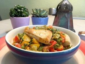 resultaat warme salade met doperwten