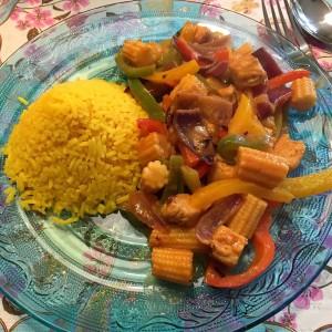 gele rijst thaise curry