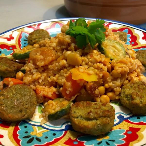 Falafel en Tajine met Bulgur en abrikozen