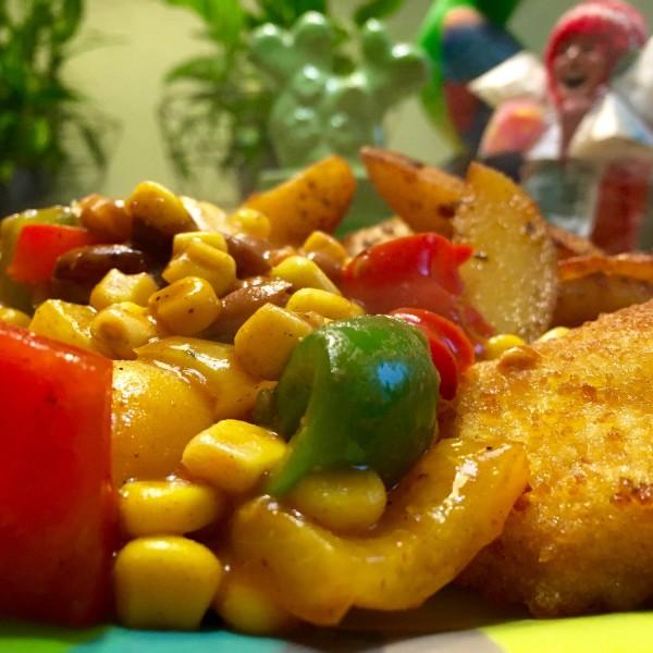 resultaat groenten bij Cajun aardappelpartjes
