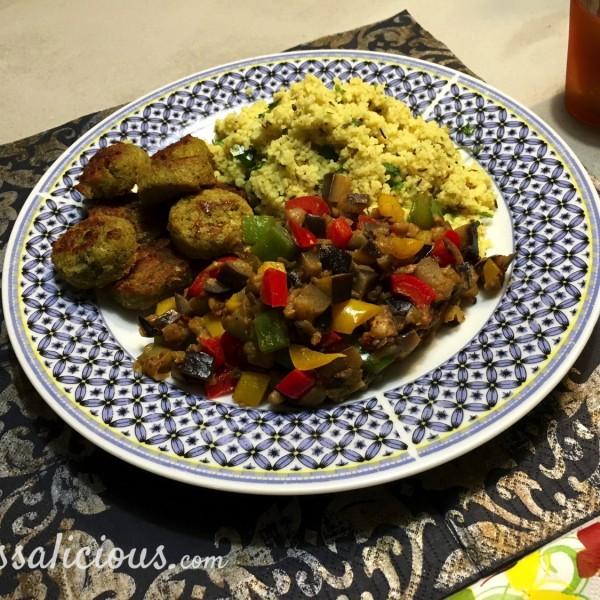 Koriander-komijn couscous met falafel