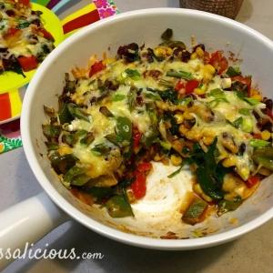 Lekkereke Mexicaanse ovenschotel met spinazie en kidneybonen