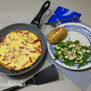 Paprika-omelet met kikkererwten