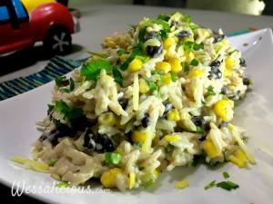 Smeuige enchilada rijst met mais