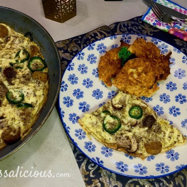 eindresultaat Turkse omelet met kaastortilla's