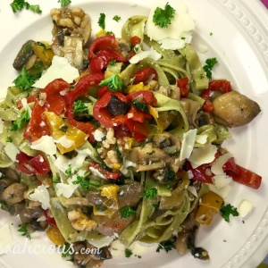 Eindresultaat Tagliatelle met champignons en walnoot