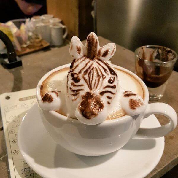3D latte art zebra