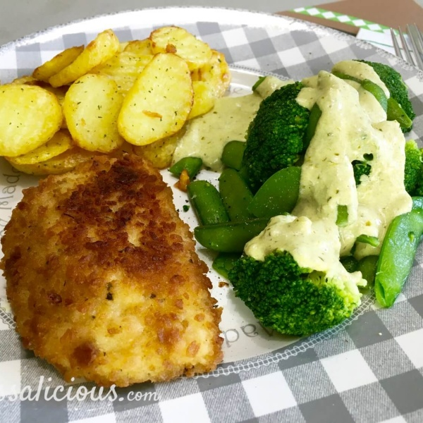 Voorbeeld Aardappelschijfjes met broccoli en pestosaus