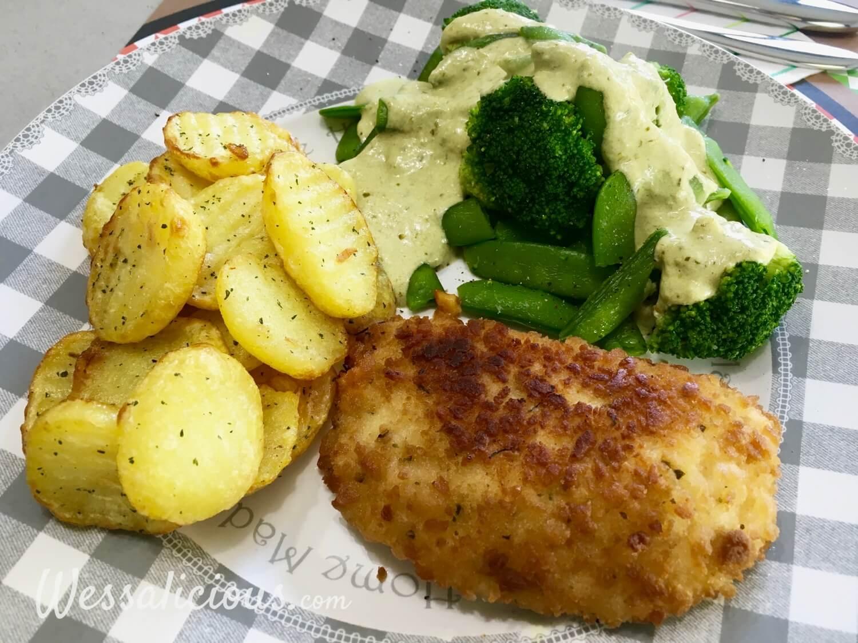 voorbeeld en eindresultaat Aardappelschijfjes met broccoli en pestosaus