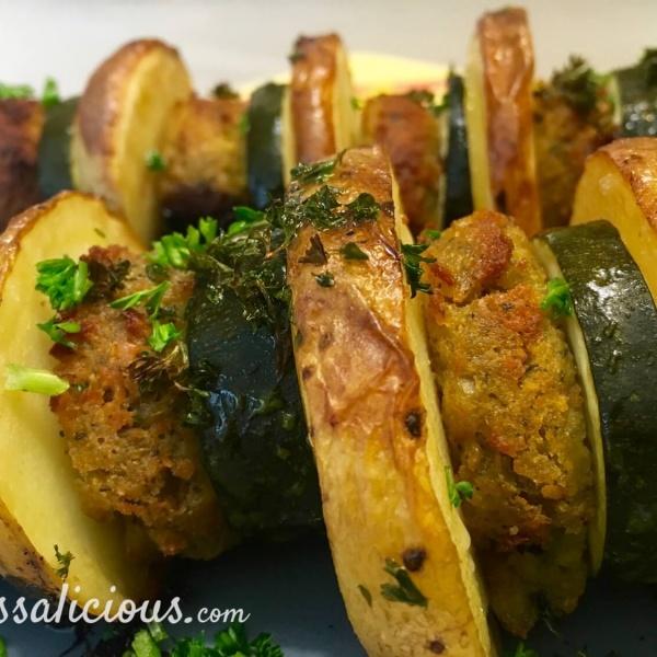barbecue Spiesjes van aardappel en falafel