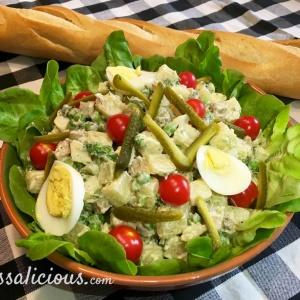 Zelfgemaakte vegetarische huzarensalade