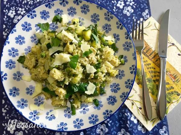 snelle Zomerse rijst met groene pesto