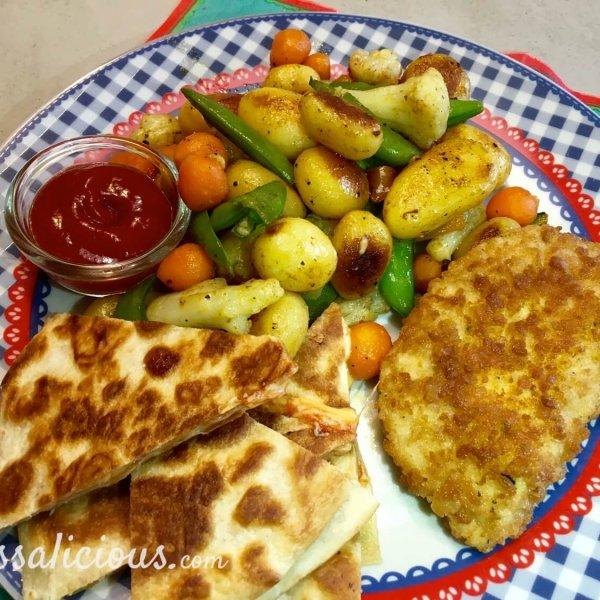 Cajun aardappelschotel met quesadilla's