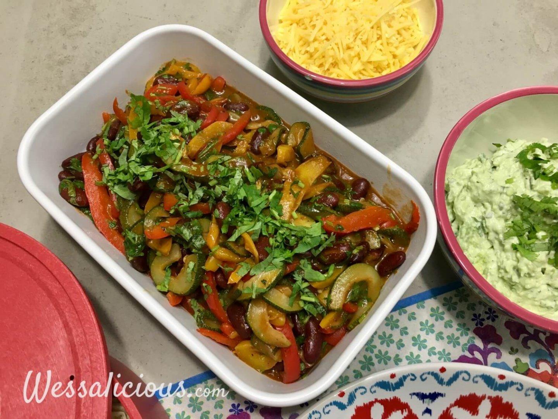 Groentefajita's met snelle guacamole en wraps