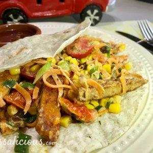 Wraps met rozijnen en schnitzel