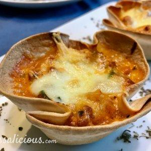 Gesmolten mozzarella lasagne