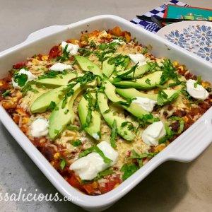 Mexicaanse lasagne met avocado