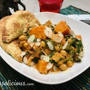 Indiase curry met zoete aardappel en naan