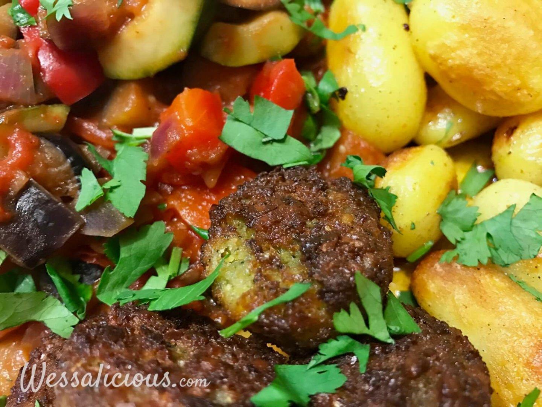 Lekkere aardappeltjes met falafel