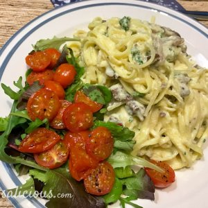Vegetarische spaghetti carbonara