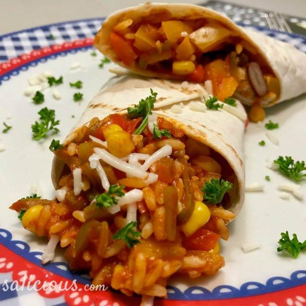 Mexicaanse wraps gevuld met rijst en kaas
