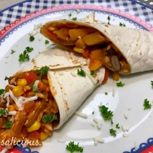 Eindresultaat Mexicaanse wraps gevuld met rijst
