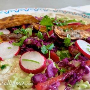 Tortilla's met zoete aardappel en avocadospread