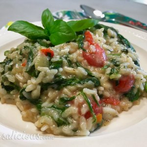 Romige Basilicum-tomaat Risotto