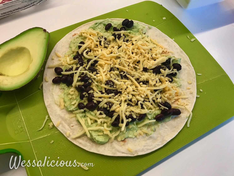 voorbereiding Avocado quesadilla's met zwarte bonen