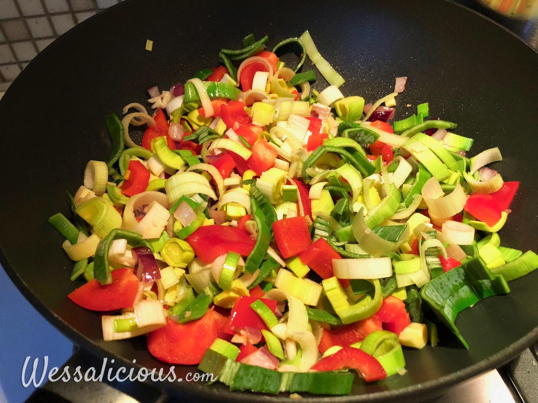 Voorbereiding Zoete aardappel ovenschotel met prei