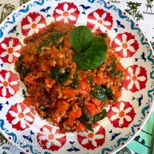 Tomatenrisotto met babyspinazie