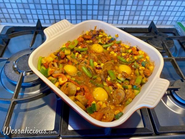 voorbereiding Vegetarische Spaanse flamenco eieren (Huevos a la Flamenca)
