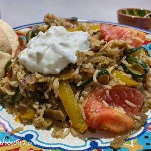 Vegetarisch shoarma met rijst en courgette