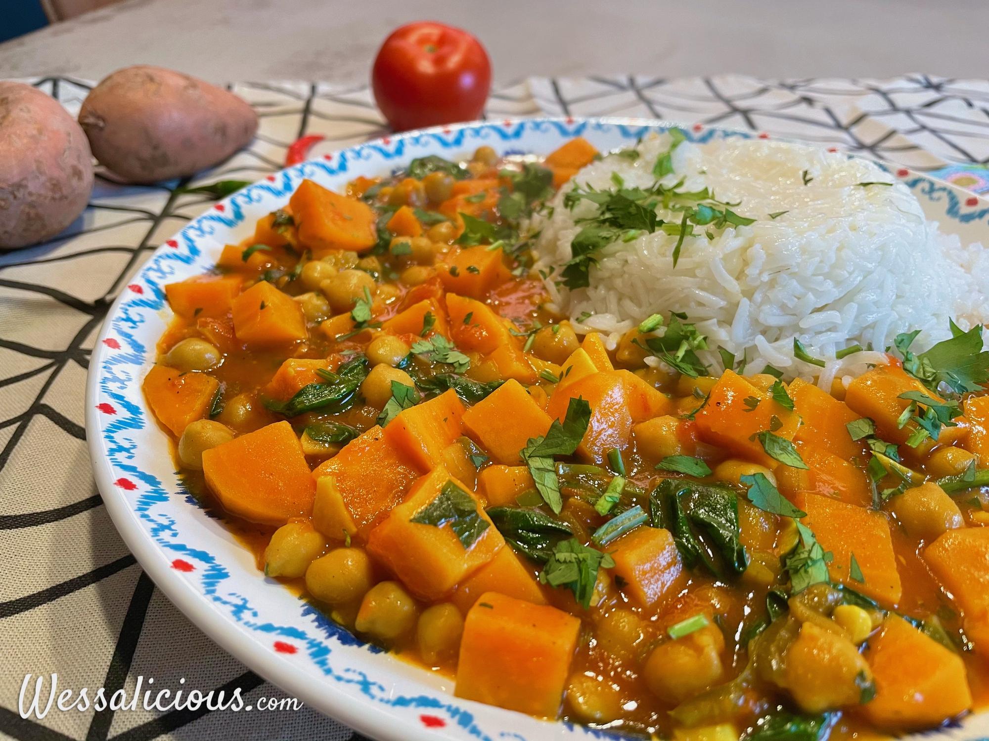 Kikkererwtencurry met zoete aardappel