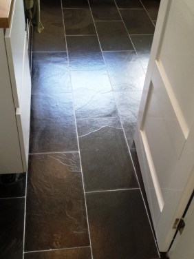 Slate Floor After Clean and seal grout recolour in Lymm Cheshire