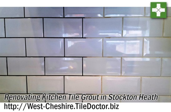 Recolouring kitchen tile grout during Kitchen makeover in Stockton Heath