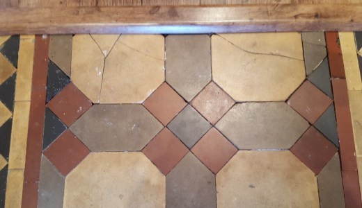 Victorian tiled hallway before restoration Warrington