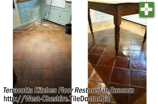Terracotta Tiled Kitchen Floor Restored in Runcorn