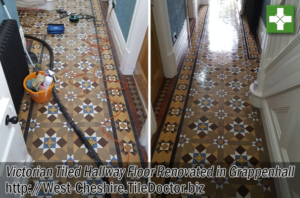 Victorian Tiled Hallway Floor Before and After Cleaning in Grappenhall