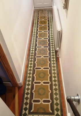 Encaustic Tiled Hallway Padgate Before Cleaning